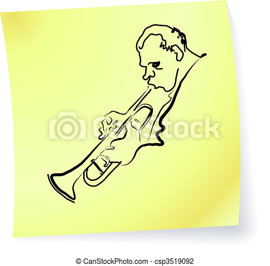 Live Jazz & Blues on a post-it note - csp3519092