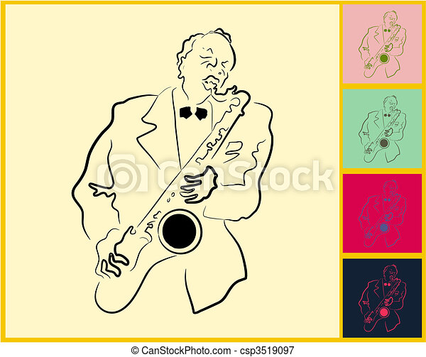 Live Jazz & Blues on post it note - csp3519097