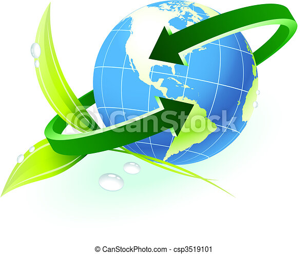 Globe with arrow with nature background - csp3519101
