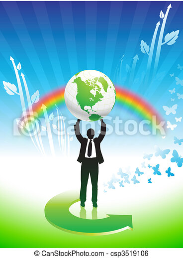 Business man on Rainbow Environmental Conservation Background - csp3519106