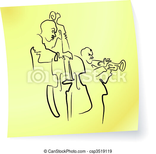 Live Jazz & Blues band on a post-it note - csp3519119