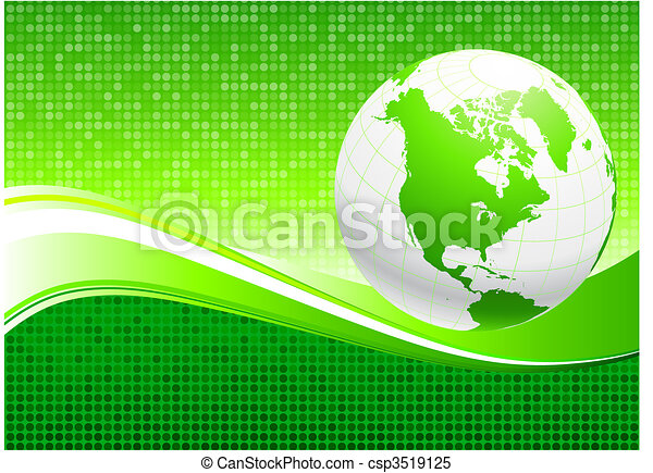 Globe on Green Environmental Conservation Background - csp3519125