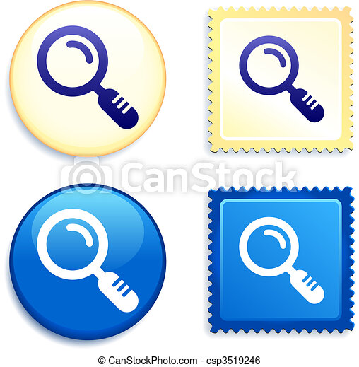 Magnifying Glass on Stamp and Button - csp3519246