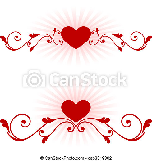 romantic hearts Valentine's Day design background - csp3519302