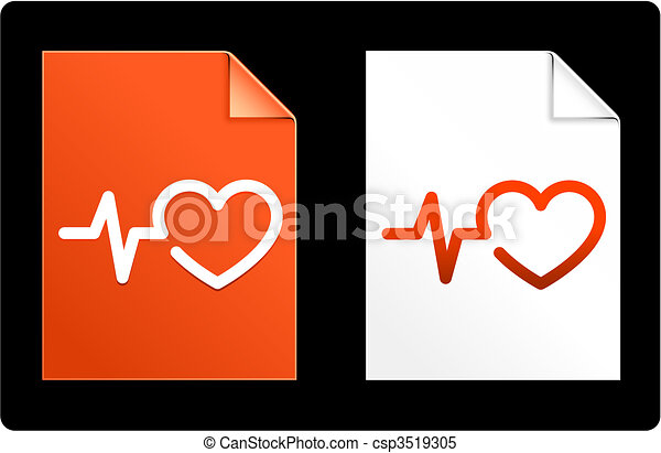 Heart Pulse on Paper Set - csp3519305