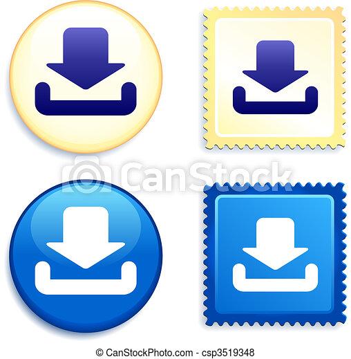 downloaden, postzegel, knoop, pictogram - csp3519348