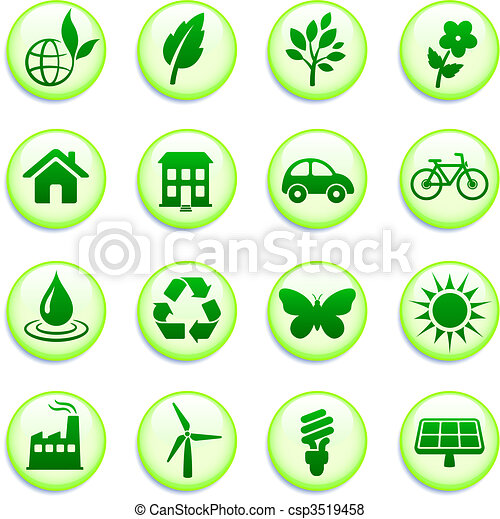 Green Environmental Buttons - csp3519458