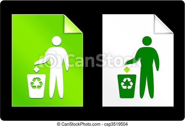 Recycle Garbage on Paper Set - csp3519504