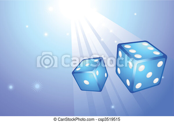 Blue Dice on Internet Background - csp3519515