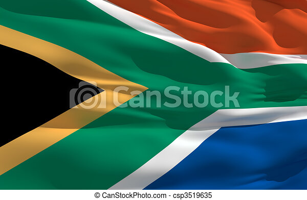 Waving flag of South Africa - csp3519635