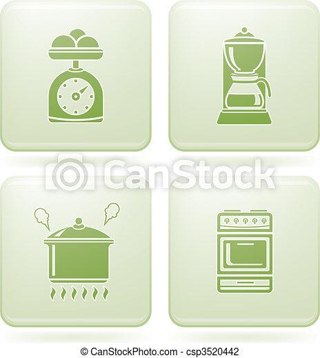 Olivine Square 2D Icons Set: Kitchen Utensils - csp3520442