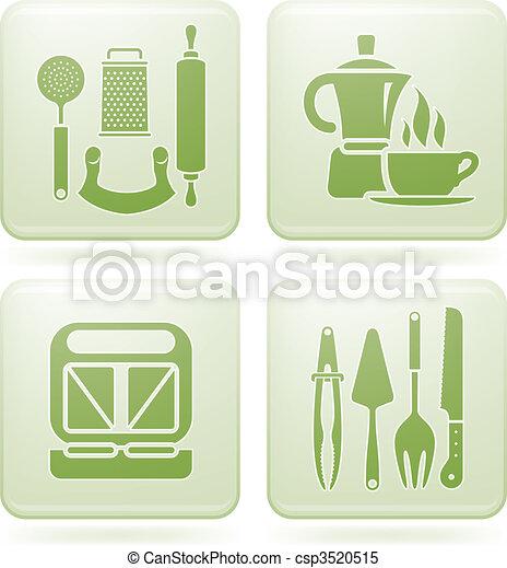 Cobalt Square 2D Icons Set: Kitchen utensils - csp3520515