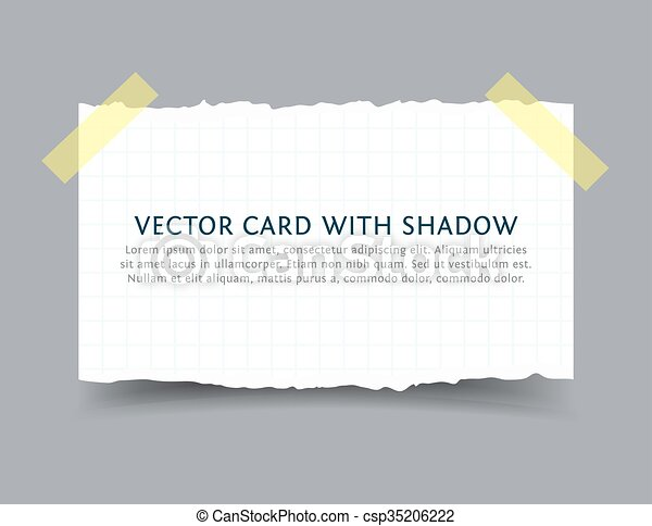 Paper card with scotch tape pieces and shadow - csp35206222