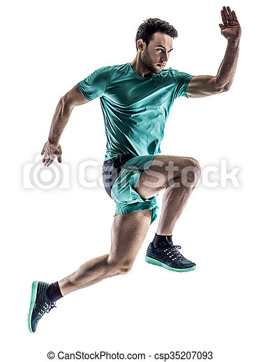 man runner jogger running  isolated - csp35207093