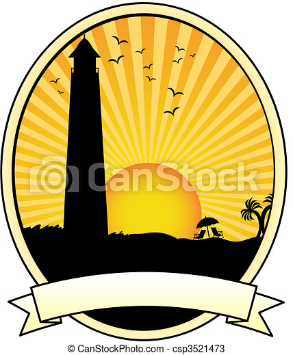 Lighthouse coastal sunset vacation silhouette Oval Banner Ad - csp3521473