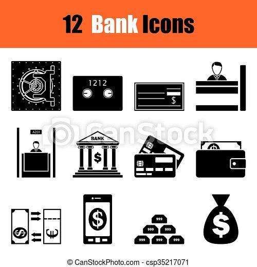 Set of twelve bank icons - csp35217071