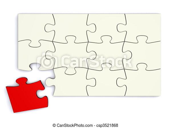 White Puzzle - Red Piece Separate - csp3521868