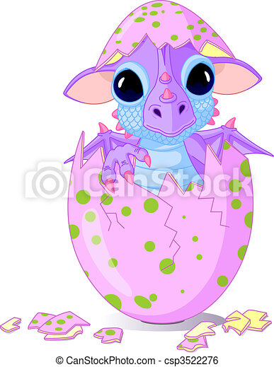 Baby dragon hatched from one egg - csp3522276