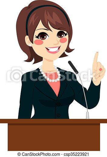 Ilustraciones de Vectores de político, mujer, Oratoria ...
