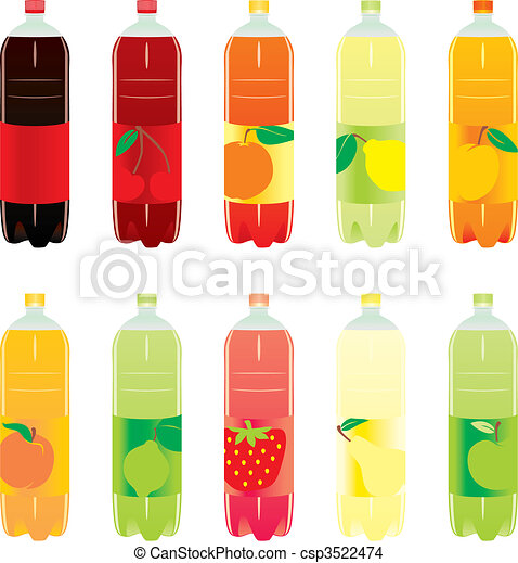 isolated carbonated drinks set  - csp3522474