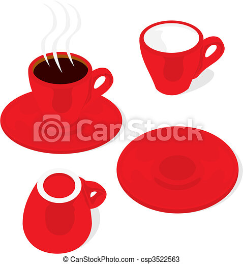 espresso cups and saucers  - csp3522563