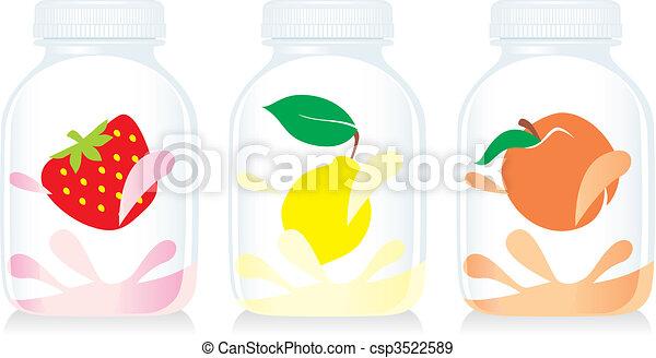 isolated fruit yogurt glass bottles - csp3522589