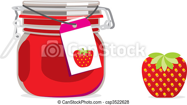 strawberry jam jar and fruit - csp3522628