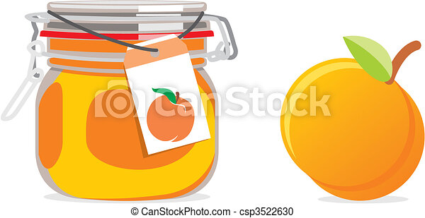 apricot jam jars and fruits - csp3522630