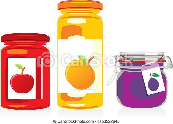 isolated jam jars set  - csp3522645
