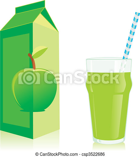 Isolated Juice Box And Glass Vector Clipart - Instant ...