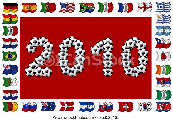 2010 - Soccer and Nation Flags - csp3523135