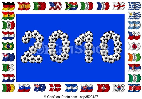 2010 - Soccer and Nation Flags - csp3523137