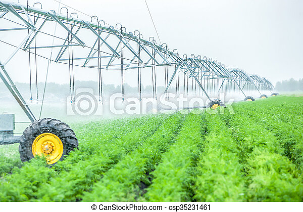 agriculture irrigation machine on a farm field