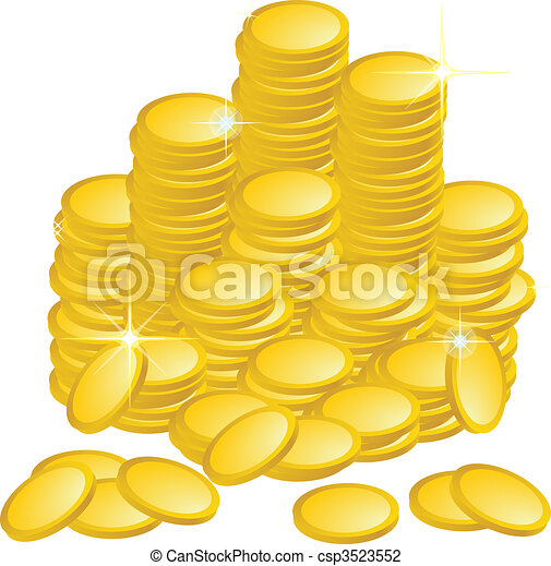 Clip Art of Golden Coins csp3523552 - Search Clipart, Illustration ...