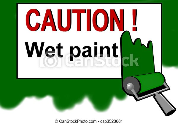 Caution - wet paint warning sign - csp3523681