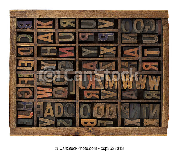 alphabet in antique wood letterpress types - csp3523813