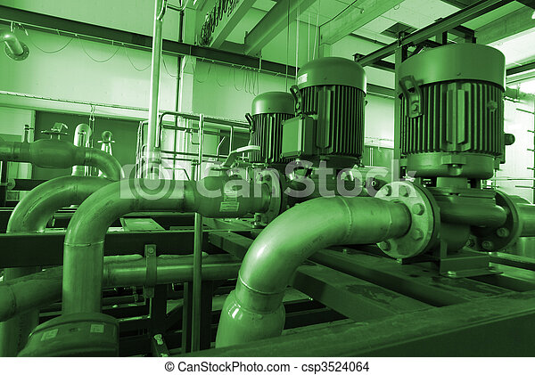 different size and shaped pipes and pumps - csp3524064