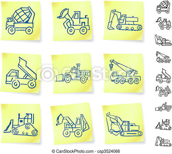 Construction Vehicles on Post It notes - csp3524066