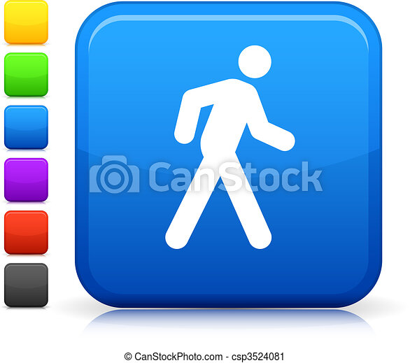 walk icon on square internet button - csp3524081