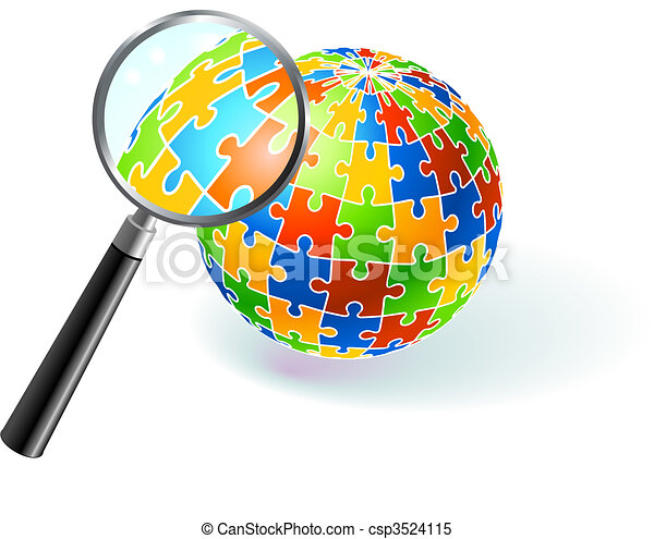 Multi Colored Globe Under Magnifying Glass - csp3524115