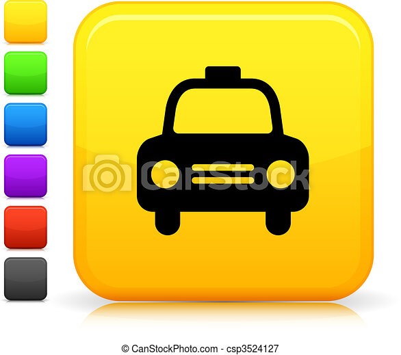 taxi, taxi, icono, en, cuadrado,  internet, botón - csp3524127