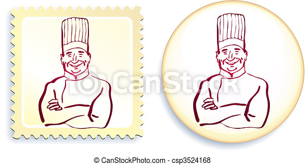 Chef on Button and Stamp Set - csp3524168
