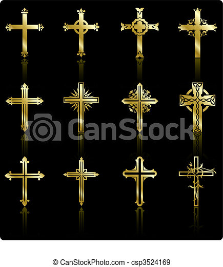 religious golden cross design collection - csp3524169