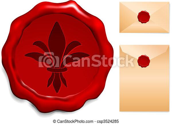 Fleur De Lis On Wax Seal - csp3524285