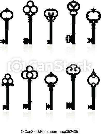 antique keys collection - csp3524351