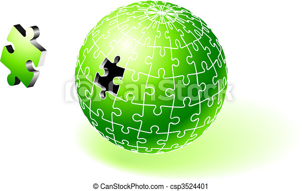 Incomplete Green Globe Puzzle - csp3524401