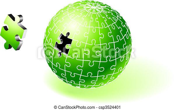 Incomplete Green Globe Puzzle - csp3524401