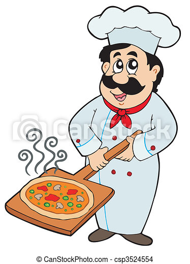 Chef holding pizza plate - csp3524554