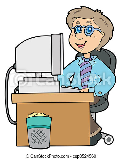 Cartoon office worker - csp3524560