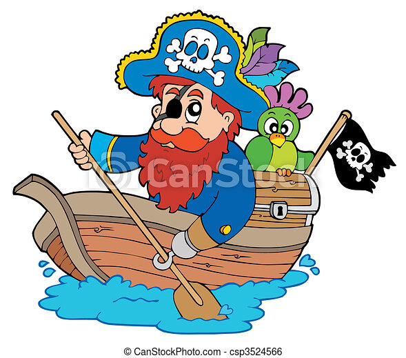 Pirate with parrot paddling in boat - csp3524566
